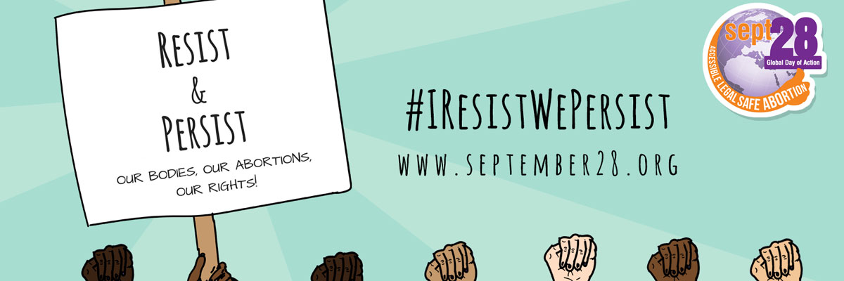 Banner image for the September 28 International Campaign for access to safe and legal abortion